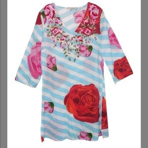 Soft surroundings small striped tunic floral top